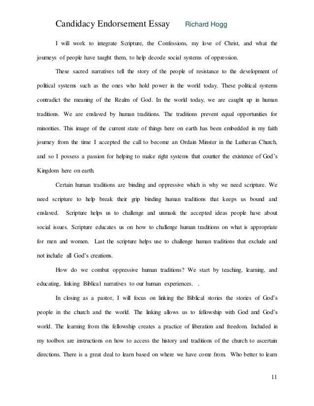 endorsment essay  11 candidacy endorsement essay