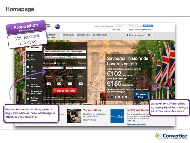 Homepage Rajouter un Call-to-Action au carousel facilite la lecture et donne envie de cliquer. Von Restorff Effect ✔ Rédui...