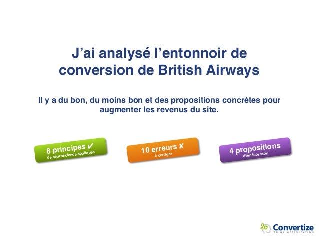 J'ai analysé l'entonnoir de conversion de British Airways  Il y a du bon, du moins bon et des propositions concrètes pour...