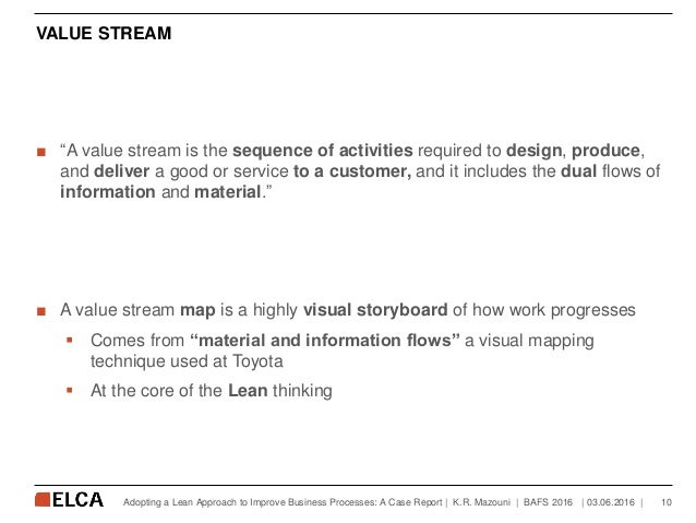 """VALUE STREAM ■ """"A value stream is the sequence of activities required to design, produce, and deliver a good or service to..."""