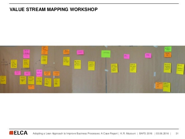 VALUE STREAM MAPPING WORKSHOP   03.06.2016   31Adopting a Lean Approach to Improve Business Processes: A Case Report   K.R...