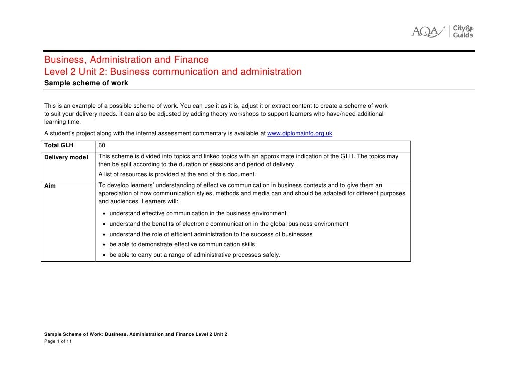 business administration level 2 unit 1 Unit one principles of personal responsibilities and working in a business environment section 1 know the employment rights and responsibilities of the.