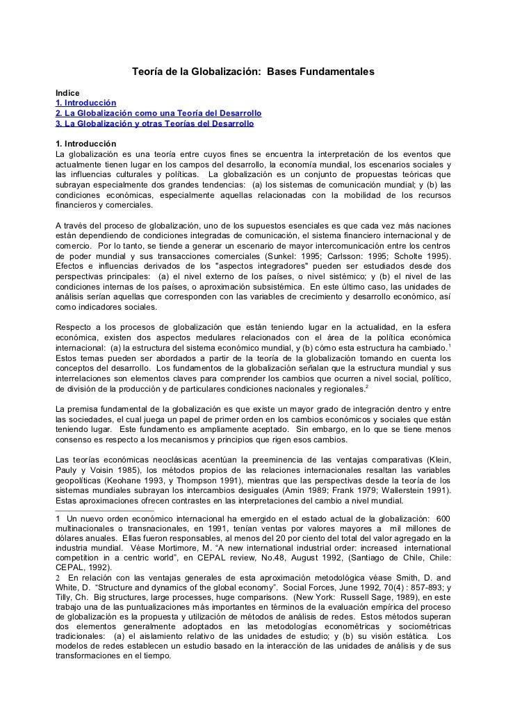 Teoría de la Globalización: Bases Fundamentales  Indice 1. Introducción 2. La Globalización como una Teoría del Desarrollo...