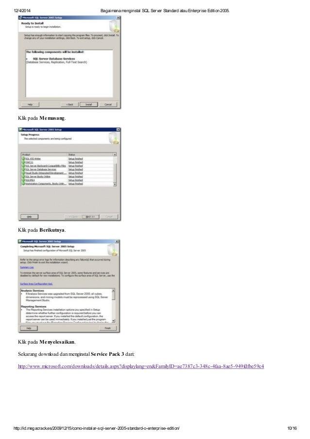 Cara instal sql server standard atau enterprise edition 2005