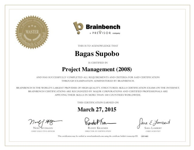It Project Management Itpm Certification From Brainbenchbagas Certi