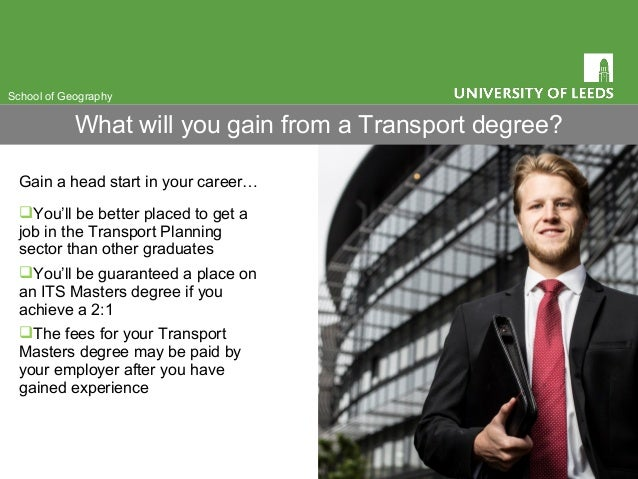 Gain a head start in your career… You'll be better placed to get a job in the Transport Planning sector than other gradua...