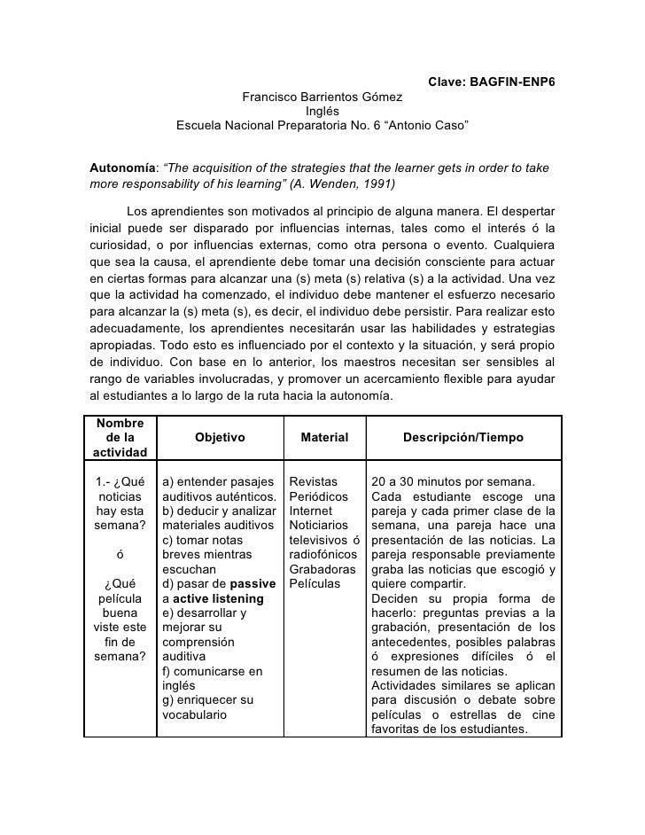 Clave: BAGFIN-ENP6                           Francisco Barrientos Gómez                                      Inglés       ...