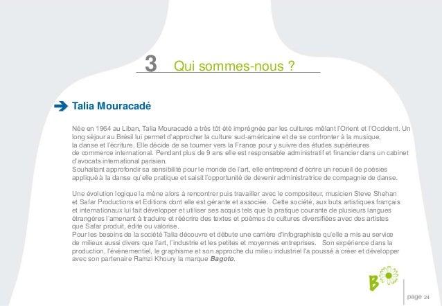 24  3 Qui sommes-nous ?  Talia Mouracadé  Née en 1964 au Liban, Talia Mouracadé a très tôt été imprégnée par les cultures ...