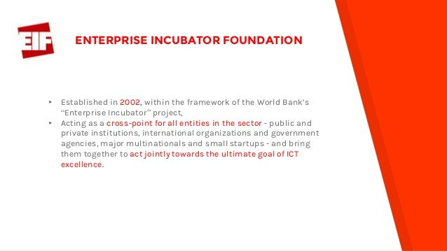 """▸ Established in 2002, within the framework of the World Bank's """"Enterprise Incubator"""" project, ▸ Acting as a cross-point ..."""