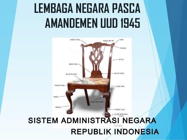 LEMBAGA NEGARA PASCAAMANDEMEN UUD 1945SISTEM ADMINISTRASI NEGARAREPUBLIK INDONESIA11/1/20101