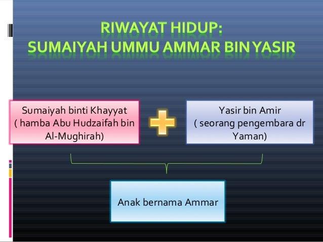Sumaiyah binti Khayyat ( hamba Abu Hudzaifah bin Al-Mughirah) Yasir bin Amir ( seorang pengembara dr Yaman) Anak bernama A...