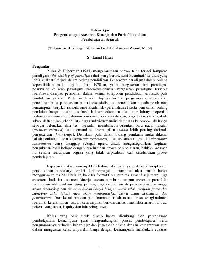 Bahan Ajar Pengembangan Asesmen Kinerja dan Portofolio dalam Pembelajaran Sejarah (Tulisan untuk peringan 70 tahun Prof. D...