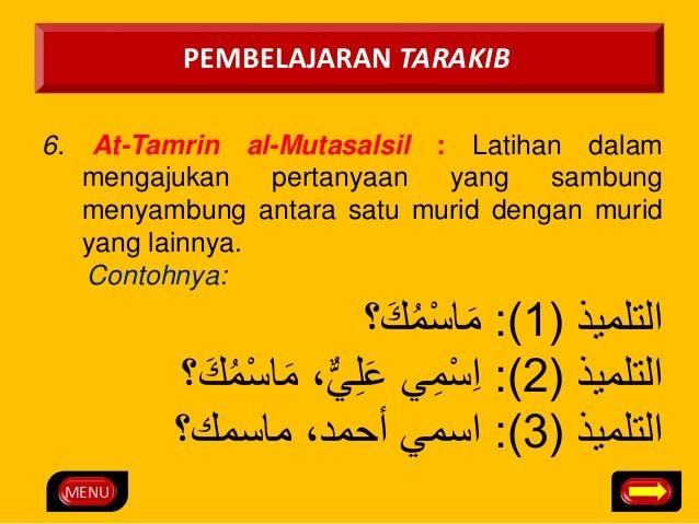 MENU  PEMBELAJARAN TARAKIB  6. At-Tamrin al-Mutasalsil : Latihan dalam  mengajukan pertanyaan yang sambung  menyambung ant...