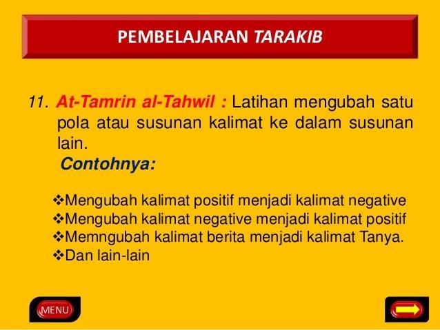 MENU  PEMBELAJARAN TARAKIB  11. At-Tamrin al-Tahwil : Latihan mengubah satu  pola atau susunan kalimat ke dalam susunan  l...