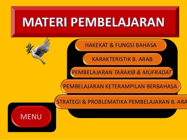 MENU  HAKEKAT & FUNGSI BAHASA  KARAKTERISTIK B. ARAB  PEMBELAJARAN TARAKIB & MUFRADAT  PEMBELAJARAN KETERAMPILAN BERBAHASA...