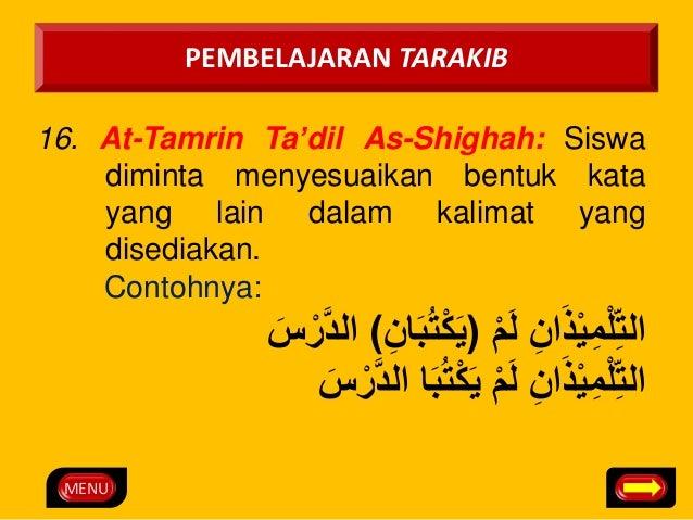 MENU  PEMBELAJARAN TARAKIB  16. At-Tamrin Ta'dil As-Shighah: Siswa  diminta menyesuaikan bentuk kata  yang lain dalam kali...