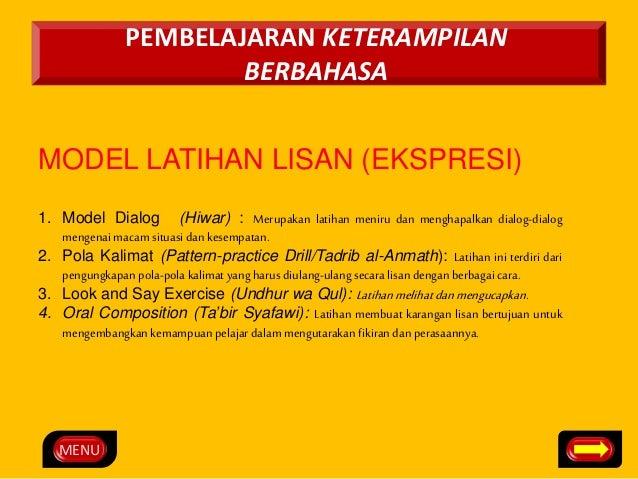 MENU  PEMBELAJARAN KETERAMPILAN  BERBAHASA  MODEL LATIHAN LISAN (EKSPRESI)  1. Model Dialog (Hiwar) : Merupakan latihan me...