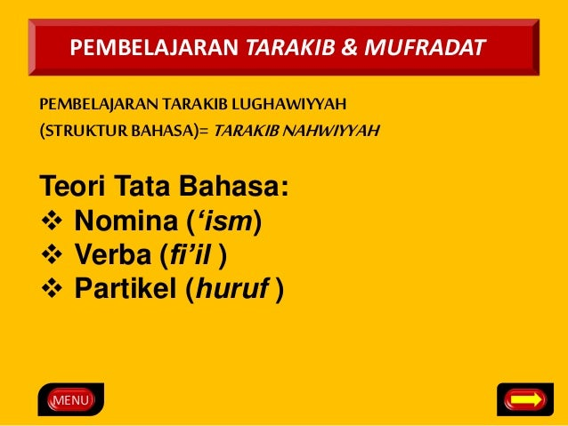 PEMBELAJARAN TARAKIB & MUFRADAT  PEMBELAJARAN TARAKIB LUGHAWIYYAH  (STRUKTUR BAHASA)= TARAKIB NAHWIYYAH  Teori Tata Bahasa...