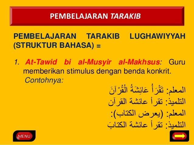 MENU  PEMBELAJARAN TARAKIB  PEMBELAJARAN TARAKIB LUGHAWIYYAH  (STRUKTUR BAHASA) =  1. At-Tawid bi al-Musyir al-Makhsus: Gu...