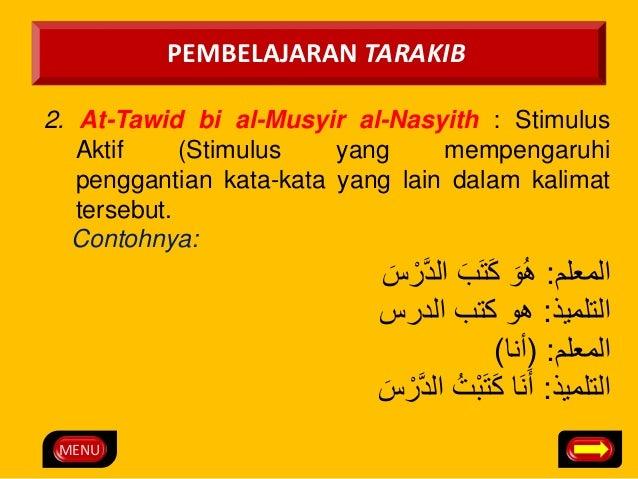 MENU  PEMBELAJARAN TARAKIB  2. At-Tawid bi al-Musyir al-Nasyith : Stimulus  Aktif (Stimulus yang mempengaruhi  penggantian...