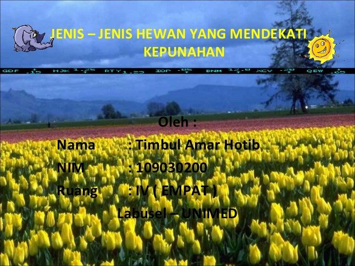 JENIS – JENIS HEWAN YANG MENDEKATI               KEPUNAHAN                Oleh :Nama      : Timbul Amar HotibNIM       : 1...