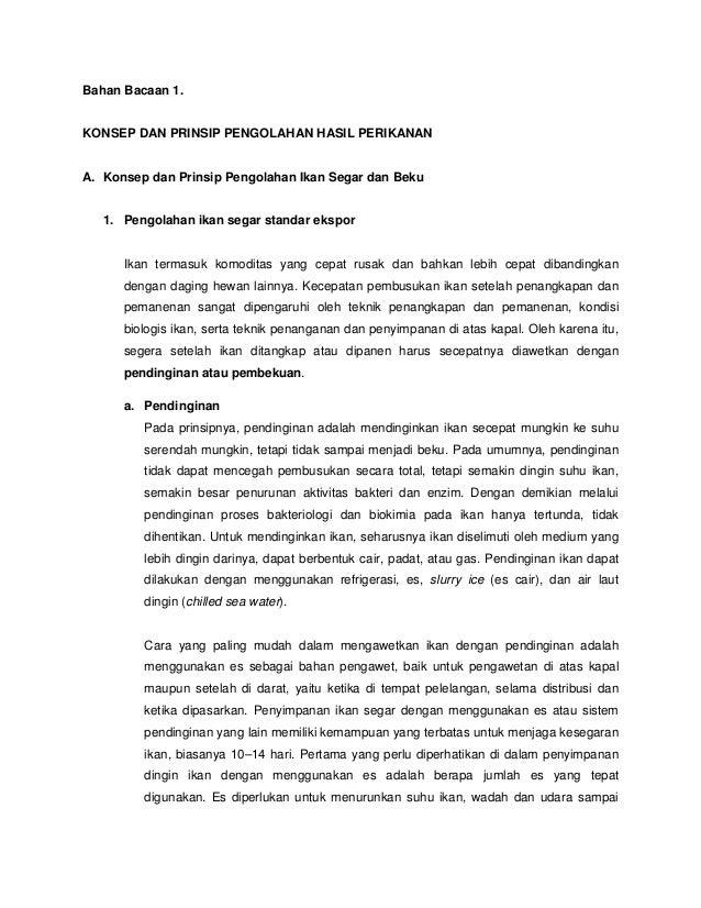 Bahan Bacaan 1 Konsep Dan Prinsip Pengolahan Produk Perikanan