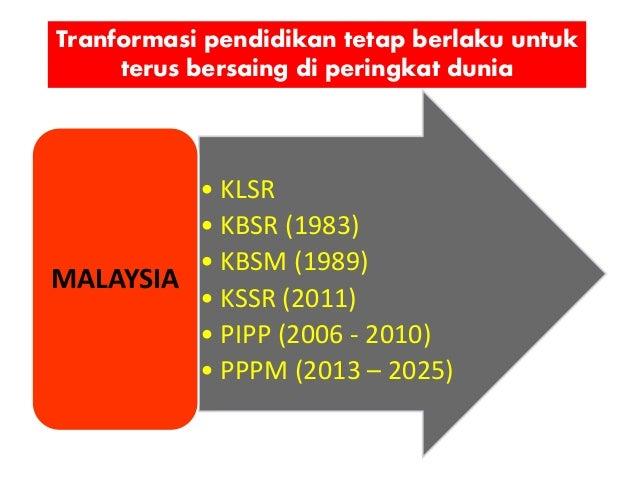 Tranformasi pendidikan tetap berlaku untuk terus bersaing di peringkat dunia • KLSR • KBSR (1983) • KBSM (1989) • KSSR (20...