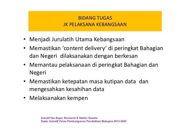 BIDANG TUGAS JK PELAKSANA KEBANGSAAN • Menjadi Jurulatih Utama Kebangsaan • Memastikan 'content delivery' di peringkat Bah...