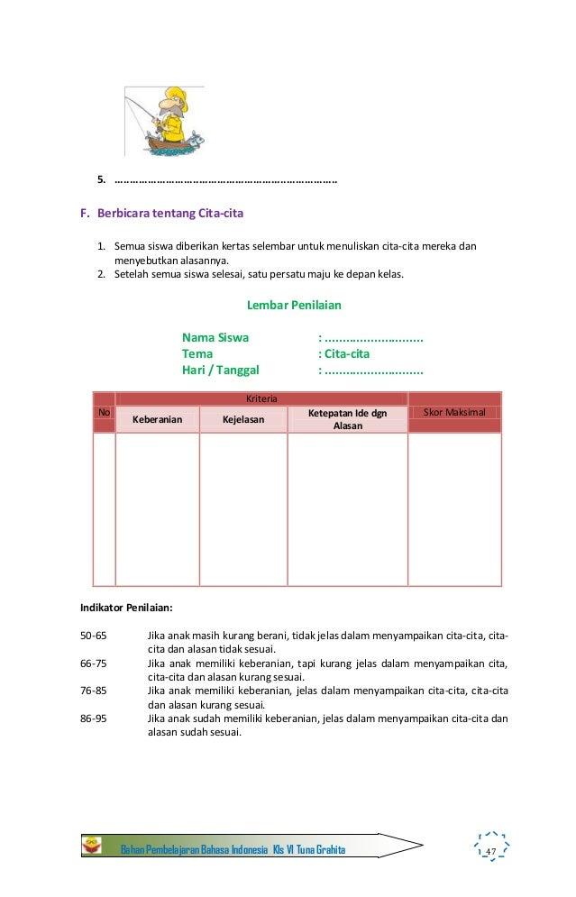 Bahan Pembelajaran Bahasa Indonesia Kelas Vi C1