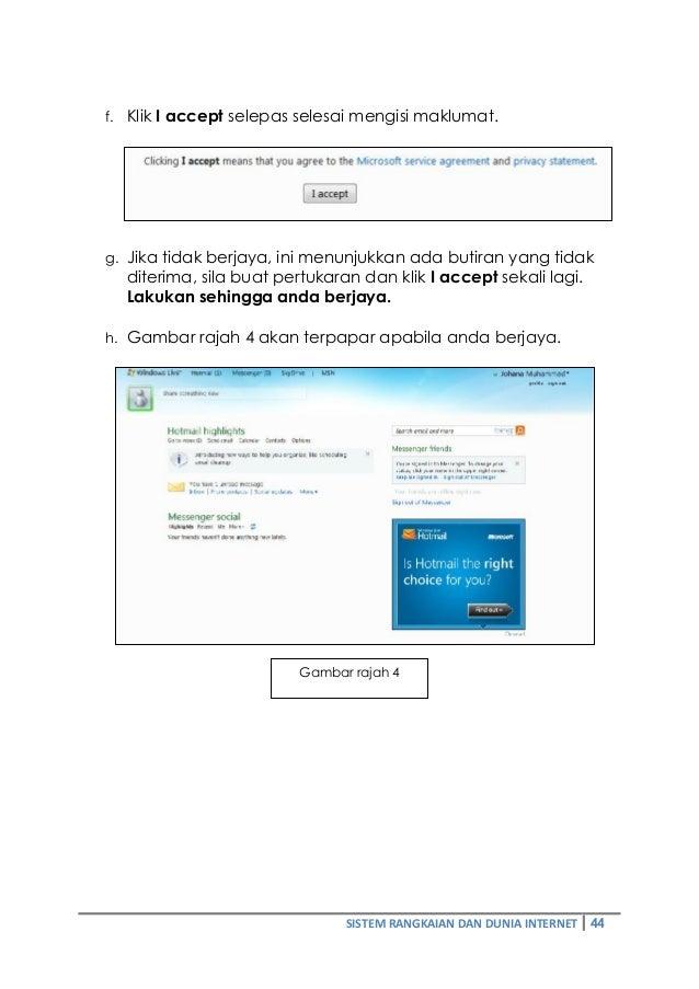 f. Klik I accept selepas selesai mengisi maklumat.  g. Jika tidak berjaya, ini menunjukkan ada butiran yang tidak  diterim...