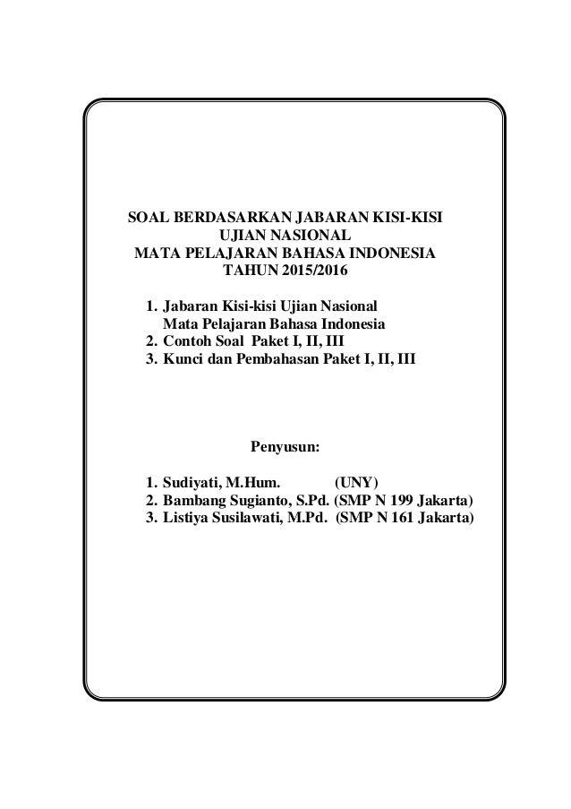Soal Pengayaan Bahasa Indonesia Un 2016