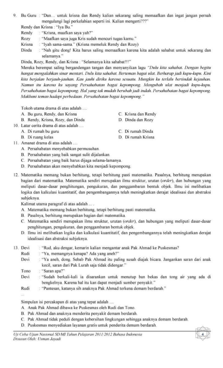 Soal Tri out UN Bahasa Indonesia SD Muhammadiyah Banjaran tahun 2012 (2)