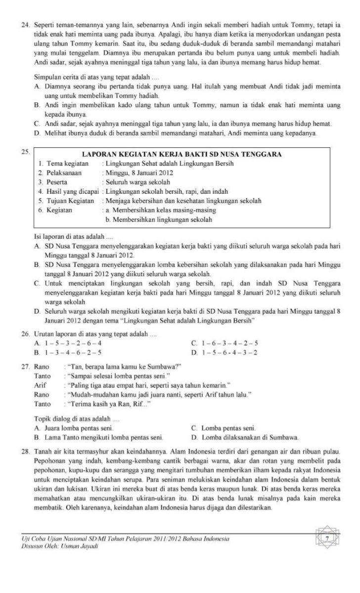 Soal Tri Out Un Bahasa Indonesia Sd Muhammadiyah Banjaran Tahun 2012