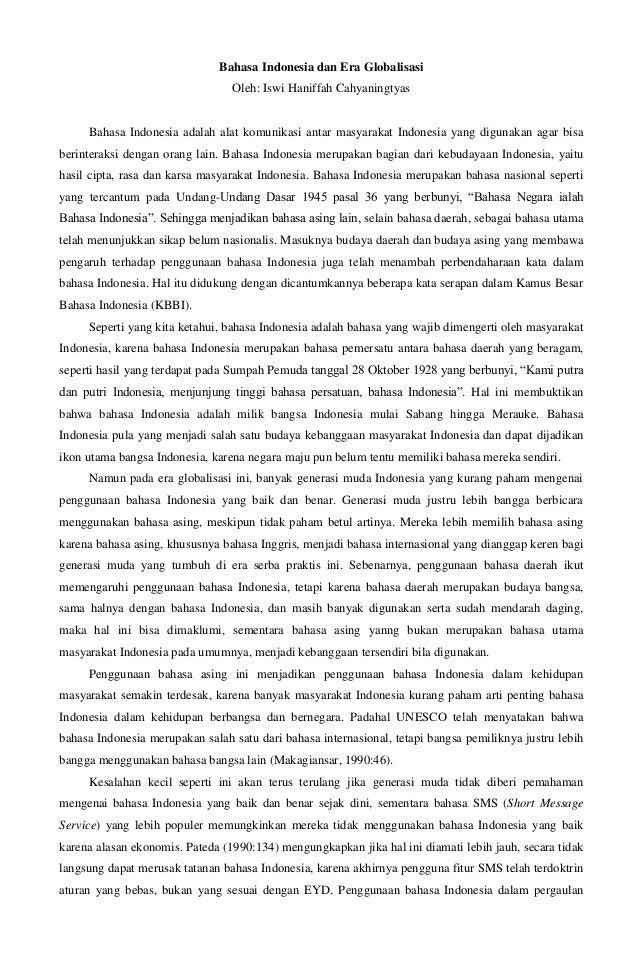 Artikel: Bahasa Indonesia dan Era Globalisasi