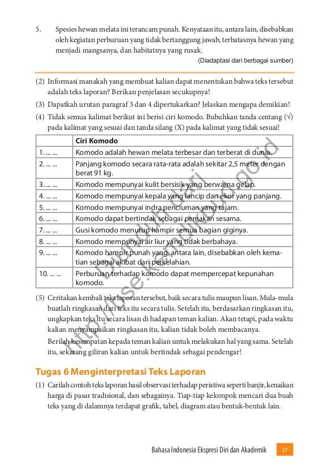 Bahasa Indonesia Ekspresi Diri Dan Akademik Buku Siswa