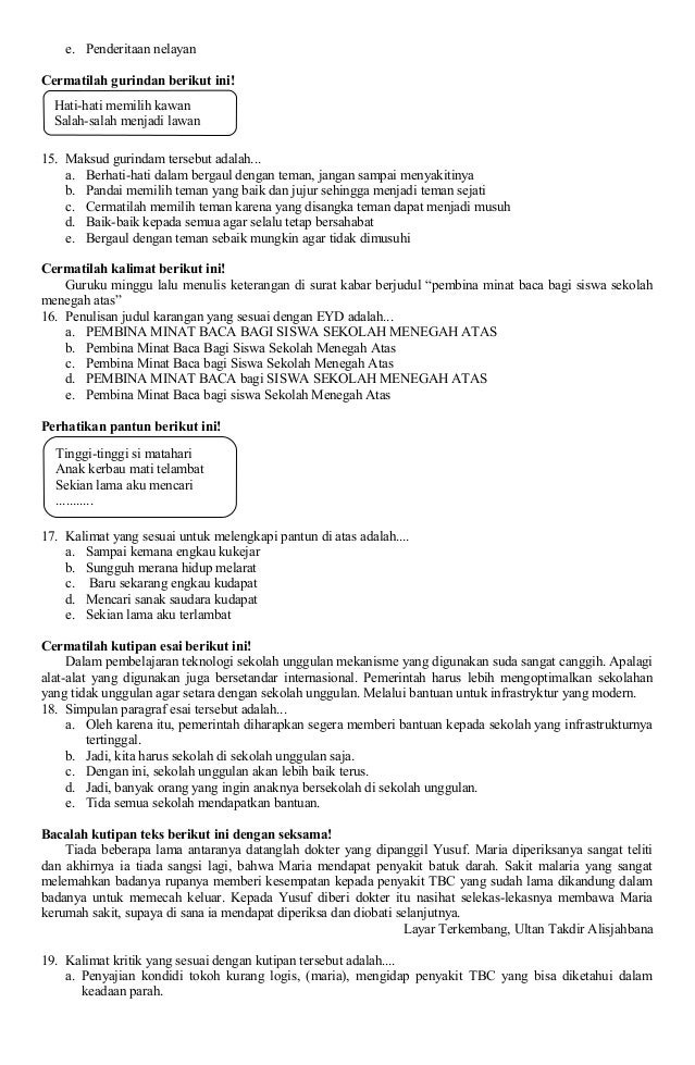 Soal Un Bahasa Indonesia Sma Yasiha Gubug 2