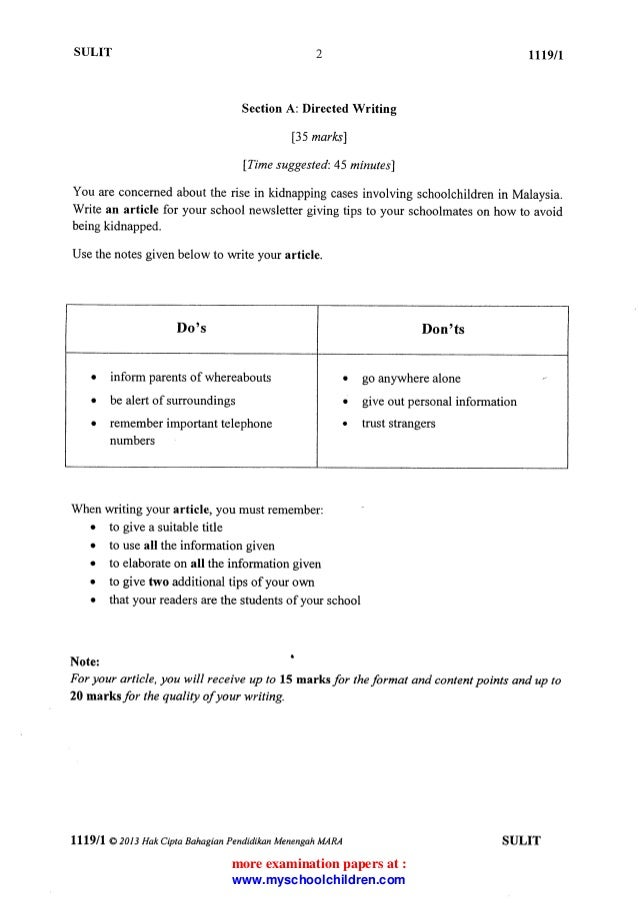 Spm english directed writing article format for spm