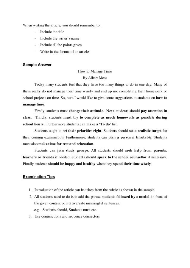 essay spm how to manage time