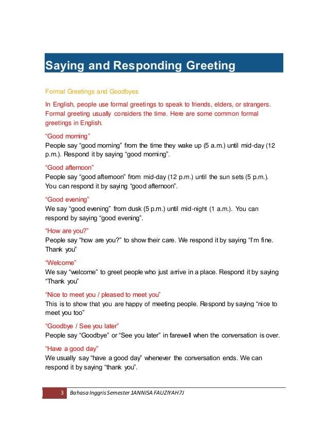 Bahan pelajaran bahasa inggris kelas 7 semester 1 saying and responding greeting formal greetings and goodbyes m4hsunfo Image collections