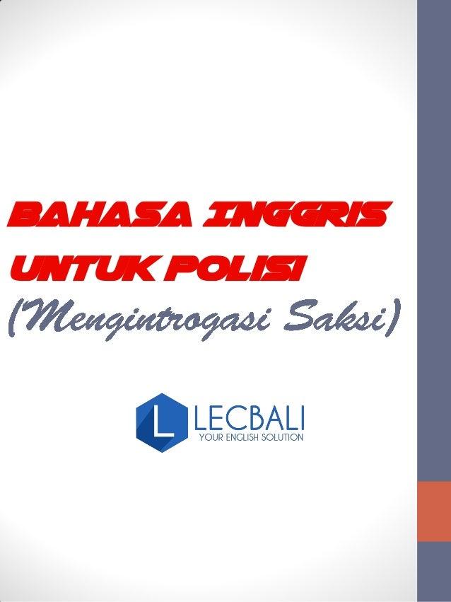Bahasa Inggris Untuk Polisi