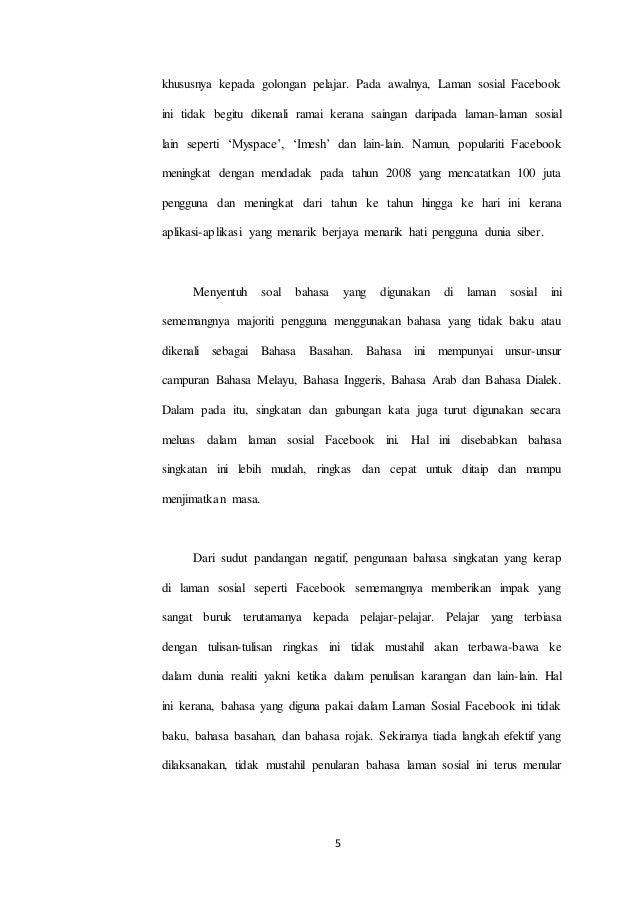 Pbs Bahasa Melayu Stpm Penggunaan Bahasa Singkatan Laman Sosial Face
