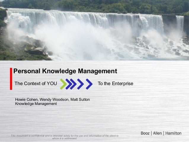 Personal Knowledge Management The Context of YOU  To the Enterprise  Howie Cohen, Wendy Woodson, Matt Sutton Knowledge Man...