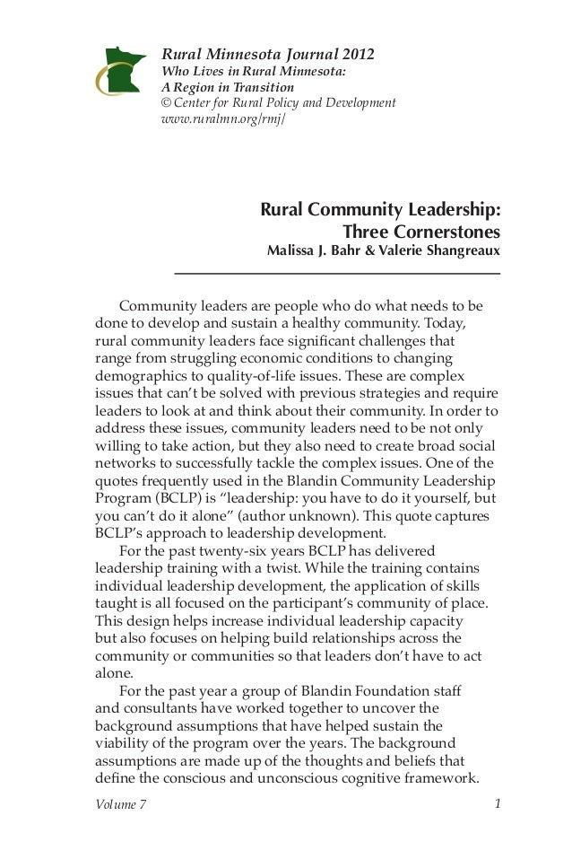 Rural Minnesota Journal 2012           Who Lives in Rural Minnesota:           A Region in Transition           © Center f...