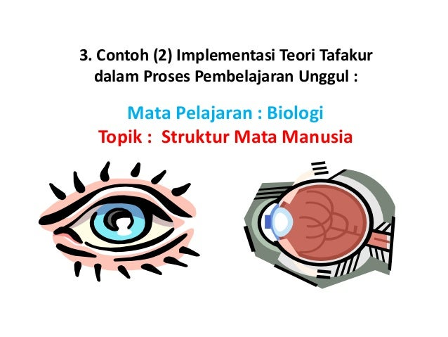 3. Contoh (2) Implementasi Teori Tafakur dalam Proses Pembelajaran Unggul : Mata Pelajaran : Biologi Topik : Struktur Mata...