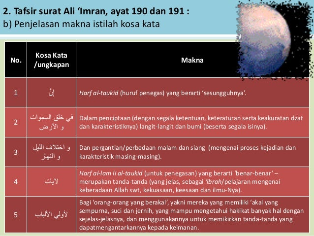 2. Tafsir surat Ali 'Imran, ayat 190 dan 191 : b) Penjelasan makna istilah kosa kata No. Kosa Kata /ungkapan Makna 1 َّن...