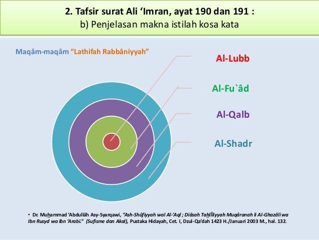 2. Tafsir surat Ali 'Imran, ayat 190 dan 191 : b) Penjelasan makna istilah kosa kata Al-Lubb Al-Qalb Al-Shadr Maqâm-maqâm ...