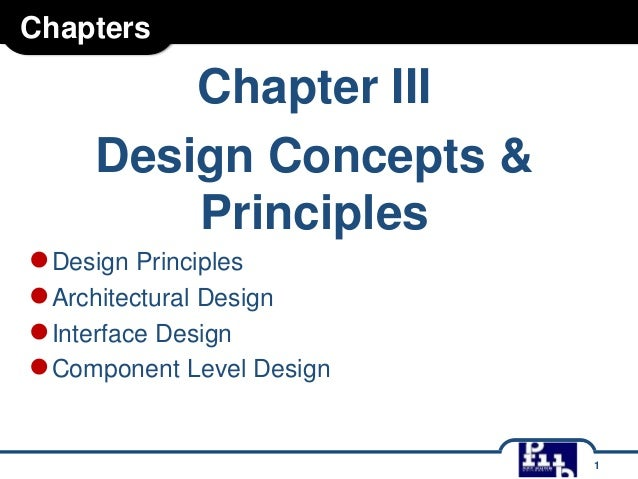 Chapters  Chapter III Design Concepts & Principles  ● Design Principles ● Architectural Design ● Interface Design ● Compon...