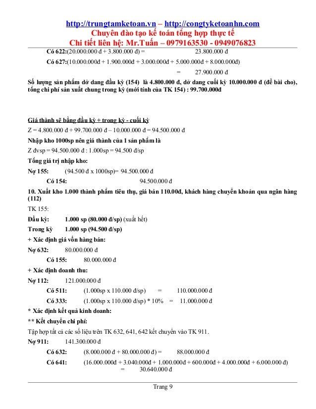 http://trungtamketoan.vn – http://congtyketoanhn.com Chuyên đào tạo kế toán tổng hợp thực tế Chi tiết liên hệ: Mr.Tuấn – 0...