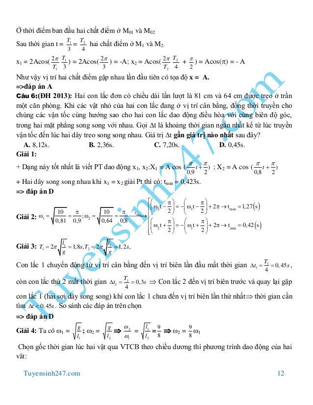Tuyensinh247.com 12 Ở thời điểm ban đầu hai chất điểm ở M01 và M02 Sau thời gian t = 3 1T = 4 2T hai chất điểm ở M1 và M2:...