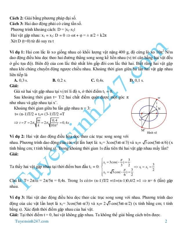 Tuyensinh247.com 2 Cách 2: Giải bằng phương pháp đại số. Cách 3: Hai dao động phải có cùng tần số. Phương trình khoảng các...